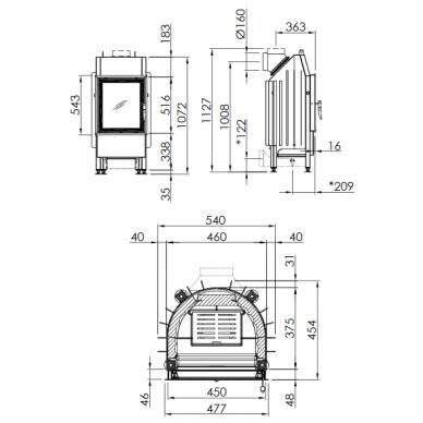 Plieninis židinio ugniakuras Spartherm Mini R1V510-4S, tiesiu stiklu, dešininės durelės, malkinis, 7,8 kW 2