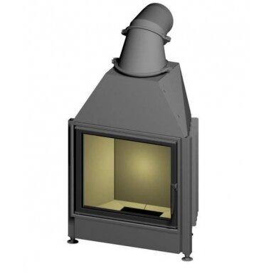 Plieninis židinio ugniakuras Spartherm Mini S51-4S, tiesiu stiklu ir keturiomis tonuotomis stiklo stiklo kraštinėmis, 9,1 kW, malkinis
