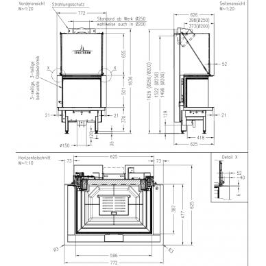 Plieninis židinio ugniakuras Spartherm Premium A-3RL-60h, ø 250 mm, 75 m2, 9,8 kW, malkinis 3