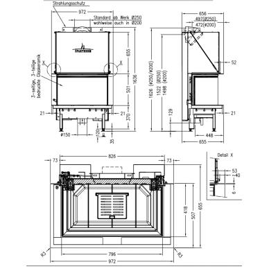 Plieninis židinio ugniakuras Spartherm Premium A-3RL-80h, d., 11,4 kW, malkinis 2