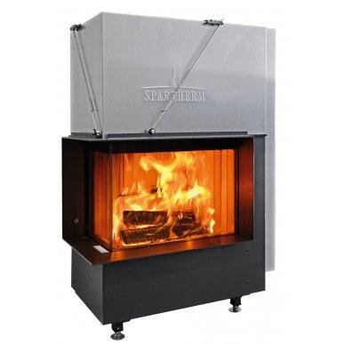 Plieninis židinio ugniakuras Spartherm Premium V-2L-80h, ø200mm S-Kamatik PREMIUM ir juodi šamotai, 105 m2, 13,7 kW, malkinis 2