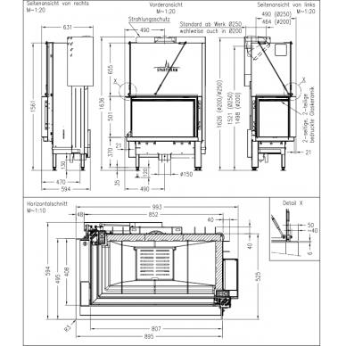 Plieninis židinio ugniakuras Spartherm Premium V-2L-80h, ø200mm S-Kamatik PREMIUM ir juodi šamotai, 105 m2, 13,7 kW, malkinis 3