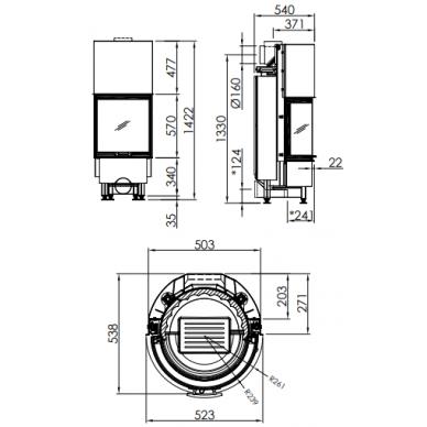 Plieninis židinio ugniakuras Spartherm Speedy Ph-4S, lenktu stiklu, 9,1 kW, 90 m2, malkinis 3