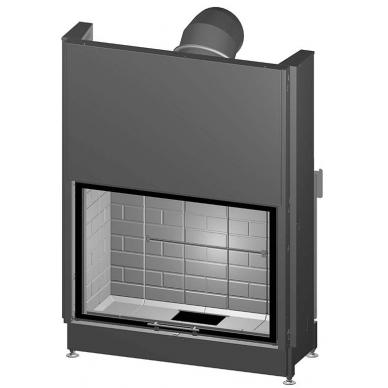 Plieninis židinio ugniakuras Spartherm Varia 1V-100h-4S tiesiu stiklu ir pakel. Durimis, juoda rankena, 104 m2, 10,4 kW, malkinis