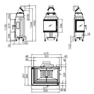 Plieninis židinio ugniakuras Spartherm Varia 2L-55-4S, kampiniu (kairės pusės) stiklu atv. durelėmis, 9,1 kW, malkinis 2