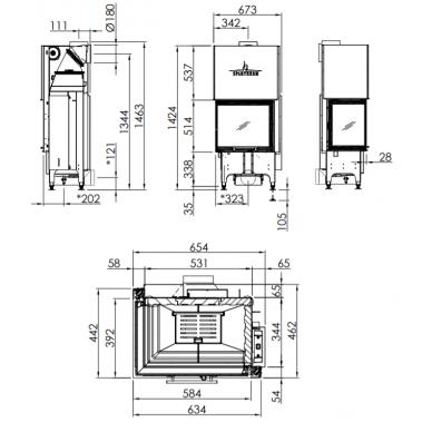 Plieninis židinio ugniakuras Spartherm Varia 2L-55h-4S, tiesiu kampiniu (kairės p.) st., 9,1 W, malkinis 2