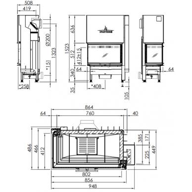 Plieninis židinio ugniakuras Spartherm Varia 2L-80h-4S, su kairės pusės stiklu, 130 m2,13,5 kW, malkinis 2