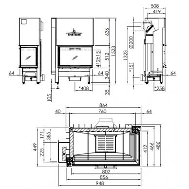 Plieninis židinio ugniakuras Spartherm Varia 2R-80h-4S, su dešinės pusės stiklu, malkinis, 13,5 kW, 140 m2 2