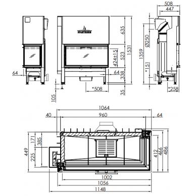 Plieninis židinio ugniakuras Spartherm Varia 2R52-100h-4S, su dešinės pusės stiklu, d. mm, 140 m2, 14,3 kW, malkinis 2