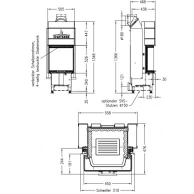 Plieninis židinio ugniakuras Spartherm Varia C-45h-4S, tripusiu stiklu, keturiomis tonuotomis stiklo kraštinėmis, malkinis, 10,4 kW, 100 m2 2