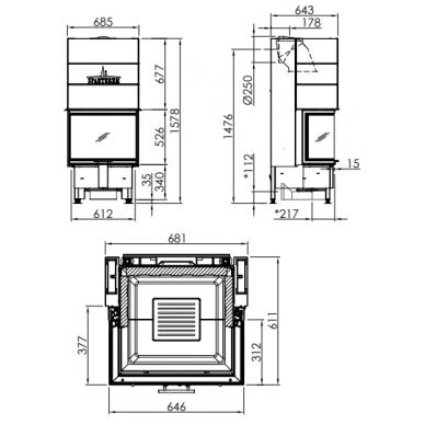 Plieninis židinio ugniakuras Spartherm Varia C52,6h-4S, trimis tiesiais stiklais, tonuotomis stiklo kraštinėmis, 11,7 kW, 110 m2, malkinis 2