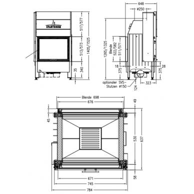 Plieninis židinio ugniakuras Spartherm Varia FD57,3h-4S, dviem fasadais ir tiesiu stiklu, 120 m2, 15,1 kW, malkinis 2