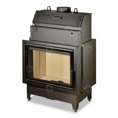 Plieninis židinio ugniakuras su šilumokaičiu ROMOTOP KV HEAT HW2Z01 70., 19 kW, 130 m2, malkinis