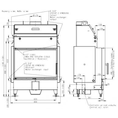 Plieninis židinio ugniakuras su šilumokaičiu ROMOTOP KV HEAT HW2Z01 70., 19 kW, 130 m2, malkinis 2