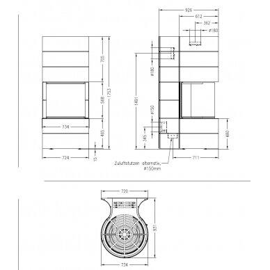 Plieninis židinys Spartherm Magic 100, su baltos spalvos apdaila, 91 m2, 12 kW, malkinis 2