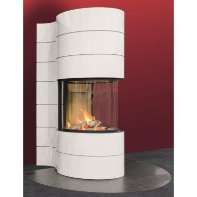Plieninis židinys Spartherm Magic 100, su baltos spalvos apdaila, 91 m2, 12 kW, malkinis 3
