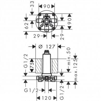 Potinkinė dalis dušo galvai Axor One 2