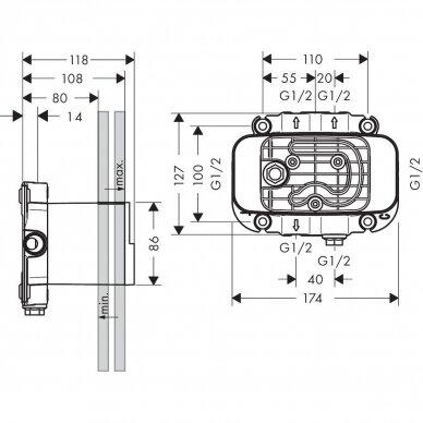 Potinkinė dėžutė termostatiniam maišytuvui Axor One 2