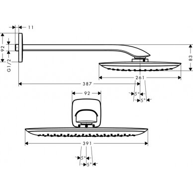 Potinkinė dušo galva Hansgrohe PuraVida 400 Air 1 jet su laikikliu 3