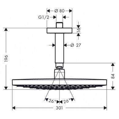 Potinkinė dušo galva Hansgrohe Raindance Select E 300 2 jet su jungtimi 3