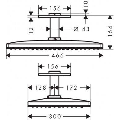 Potinkinė dušo galva Hansgrohe Rainmaker Select 460 2 jet su laikikliu 3