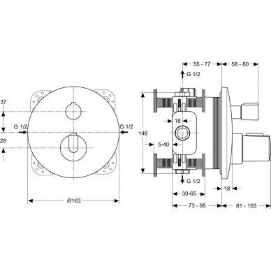Potinkinės termostatinės sistemos komplektas Ideal Standard Ceratherm 100 10