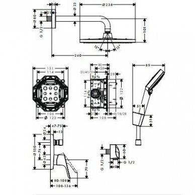 Potinkinis dušo komplektas Hansgrohe Crometta S 9