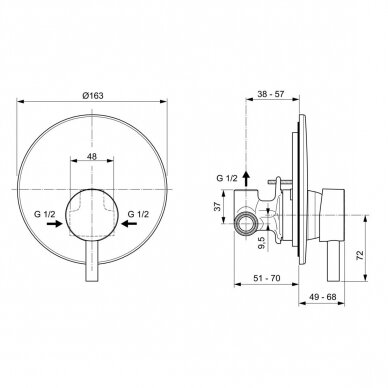 Potinkinis dušo maišytuvas Ideal Standard Ceraline 3