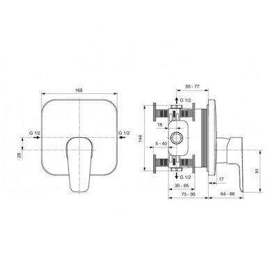 Potinkinis dušo maišytuvas maišytuvas Ideal Standard Ceraplan II 2