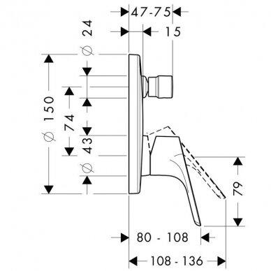 Potinkinis maišytuvas voniai/dušui Hansgrohe Focus E2, 31945000 2