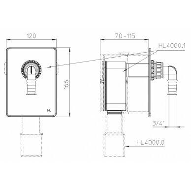 Potinkinis sifonas HL4000.1 nuotekų pajungimui iš 1 įrenginio 2