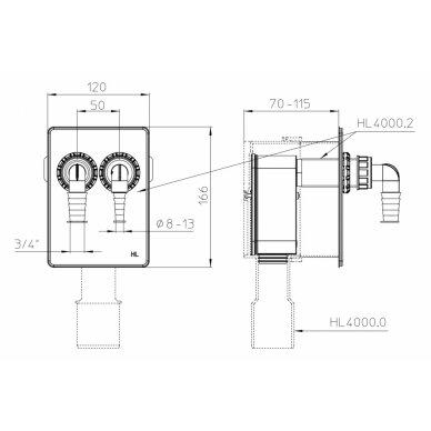 Potinkinis sifonas HL4000.2 nuotekų pajungimui iš 2 įrenginių 2