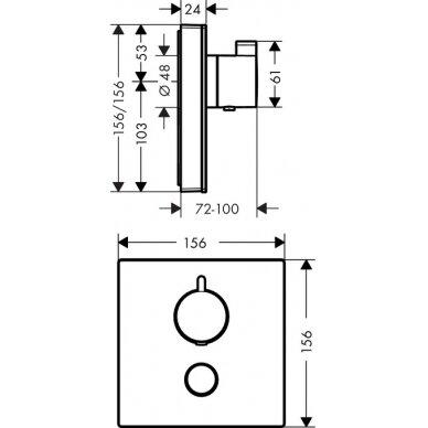 Potinkinis dušo maišytuvas Hansgrohe ShowerSelect glass 1 4