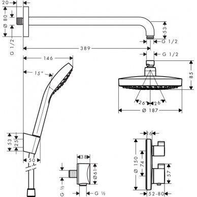 Potinkinis dušo komplektas Hansgrohe Croma Select S 8