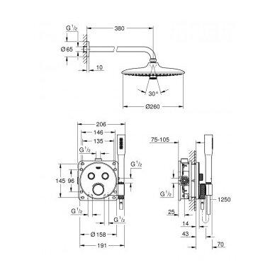 Potinkinis termostatinis dušo komplektas Grohe SmartControl 260 2