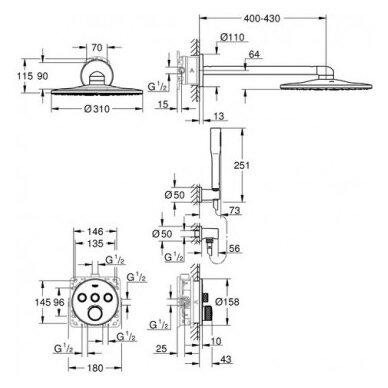 Potinkinis termostatinis komplektas Grohe SmartControl 310 2