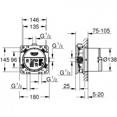 Potinkinis termostatinis komplektas Grohe SmartControl Cube 310 10