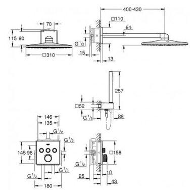 Potinkinis termostatinis komplektas Grohe SmartControl Cube 310 2