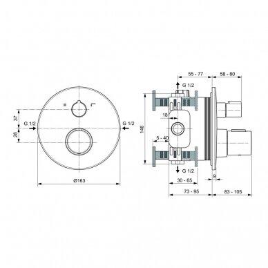 Potinkinis termostatinis maišytuvas Ideal Standard Ceratherm Т100 dušui ir voniai 2