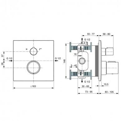 Potinkinis termostatinis maišytuvas Ideal Standard Ceratherm C100 dušui ir voniai 2