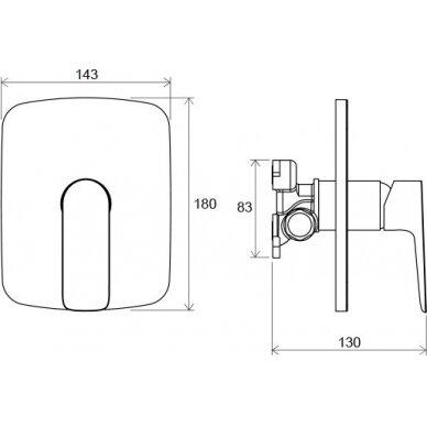 Potinkinis vonios arba dušo maišytuvas Classic, skirtas R-box 3