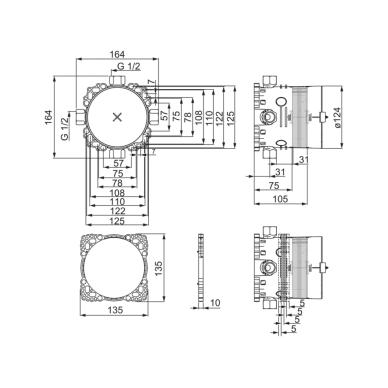 Potinkinis vonios ir dušo maišytuvo korpusas Oras BlueBox, G1/2 2
