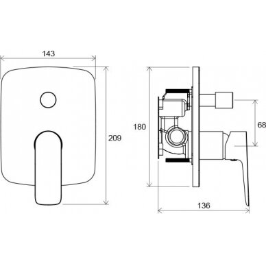 Potinkinis vonios/dušo maišytuvas Ravak Classic, skirtas R-box 3