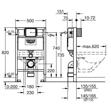 Potinkinis WC rėmas Grohe Rapid SL 0,82 m 6-9 L 2