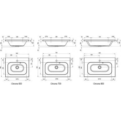Praustuvas Ravak Chrome 60, 70, 80 cm 4