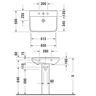 Praustuvas Duravit P3 Comforts 65 cm 4