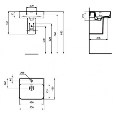 Praustuvas Ideal Standard Strada II 50, 60, 80 cm 6