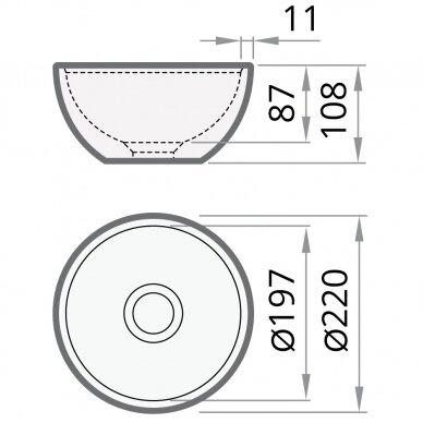 Pastatomas praustuvas PAA SilkStone DO 22 cm 5