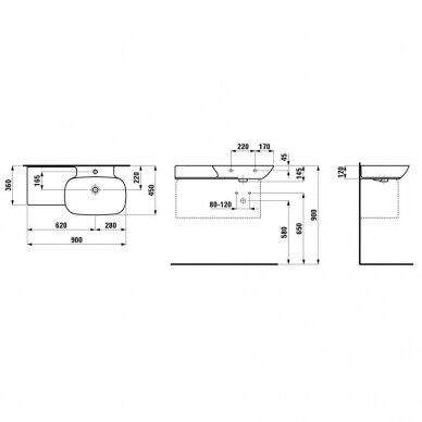 Praustuvas su integruota lentyna kairėje Laufen Ino 90 cm 5