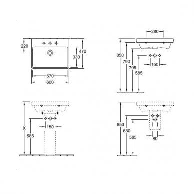 Praustuvas su spintele Villeroy & Boch Avento 60 cm 4